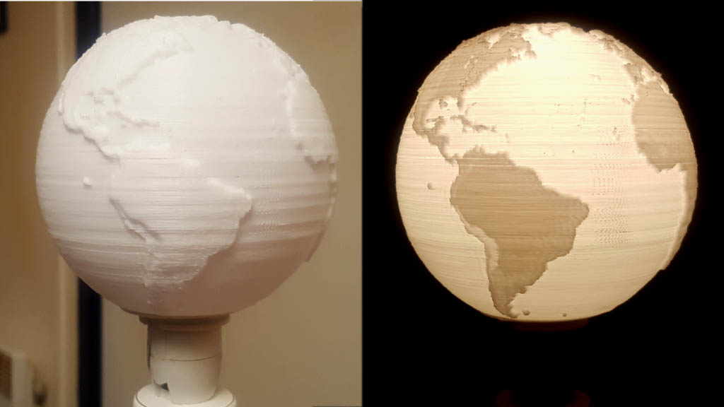 Spherical lithophane lampshade
