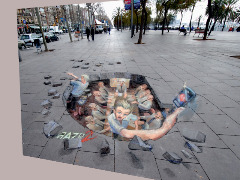 3d Street Art popping by PopCulture