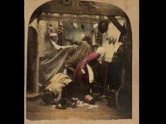 Stereocard depicting a ghost terrorising a family in a kitchen, by the London Stereoscopic Company, London, 1856 - 1859 by Nationalmuseumsscotland