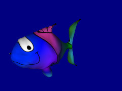 Changing color cartoon fish by Evangelist